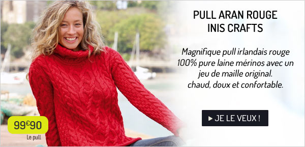 Pull Aran rouge Inis Crafts