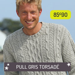 Pull gris torsadé