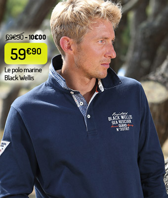 Le polo Black Wellis marine vichy