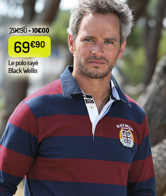 Le polo Black Wellis rayé marine-bordeaux