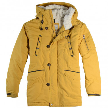 Out Of Ireland Yellow Hooded Padded Parka