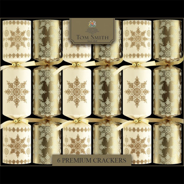 Christmas Crackers Premium Or & Crème x6 Tom Smith