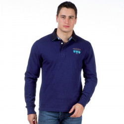 Ruckfield Blue, Indigo and Turquoise Long Sleeves Polo