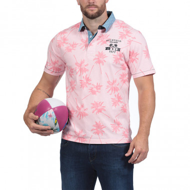 POLO JERSEY HOMME MANCHES COURTES PALMIERS ROSE islande RUCKFIELD