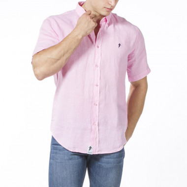 Ruckfield Essential Pink Linen Short Sleeves Shirt