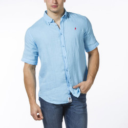 Ruckfield Short Sleeves Light Blue Linen Shirt