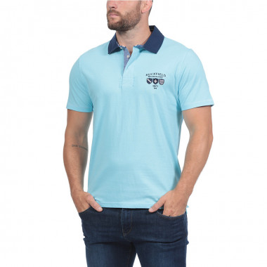 Polo Jersey Manches Courtes Turquoise Ruckfield