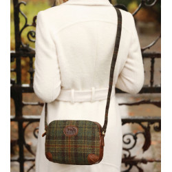 Aran Woollen Mills Green And Leather Tartan Shoulder Bag