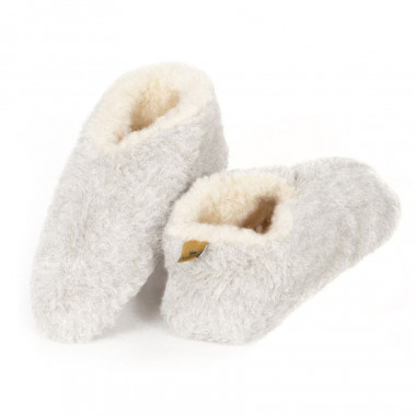 Alwero Light Grey Wool Skiper Slippers