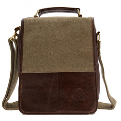 Aran Woolen Mills Large Canvas And Leather Bag