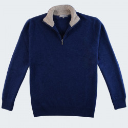 Best Yarn 1/2 Zip Collar Indigo Sweater