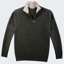 Best Yarn 1/2 Zip Collar Khaki Sweater