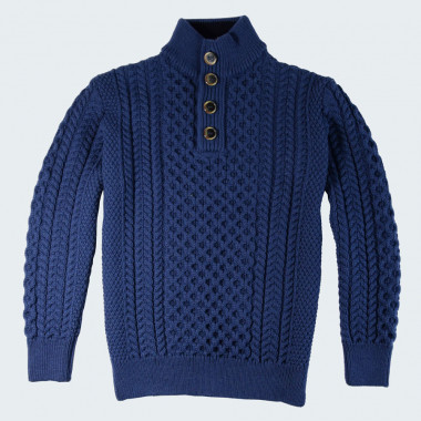 The Original Aran Company Blue High Collar Sweater