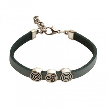 Bracelet Fantaisie Spirales Triskel Gris Argent