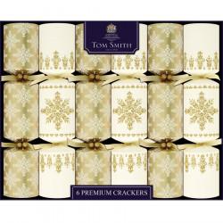 Christmas Crackers Premium Or & Crème Tom Smith x6