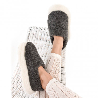 Chaussons Siberian Laine Gris Alwero