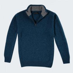 Celtic Alliance Lambswool Peacok Heather Blue Hal Zip Collar Sweater