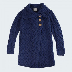 Aran Woollen Mills Long Blue Buttons Jacket