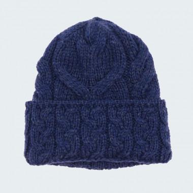Bonnet Mérinos Bleu avec Revers Aran Woollen Mills