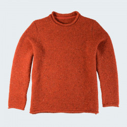 Pull Droit Finitions Roulottées Orange Best Yarn