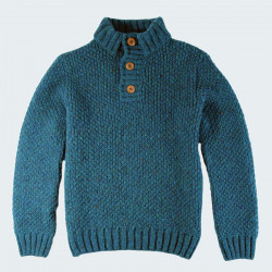 Pull homme col boutonne donegal turquoise chine best yarn