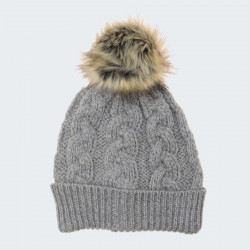 Bonnet pompon gris inis craft