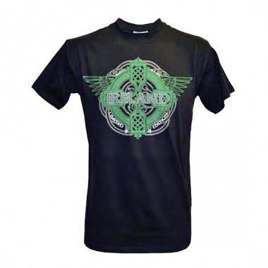Tee shirt manches courtes ireland noir ailes