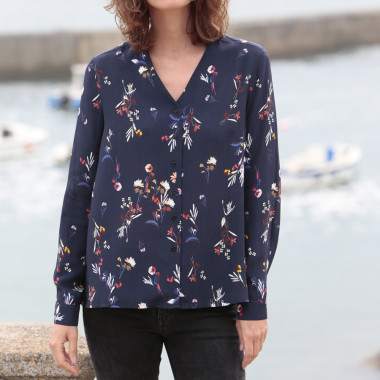 Out of Ireland Navy & Flowers Shirt