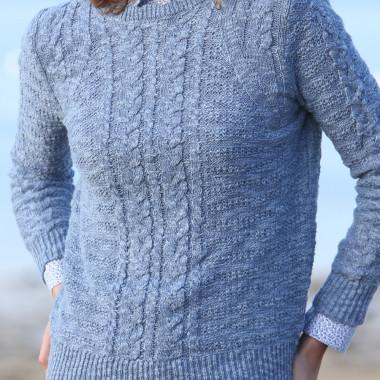 Pull femme aran bleu coton et lin the original aran company