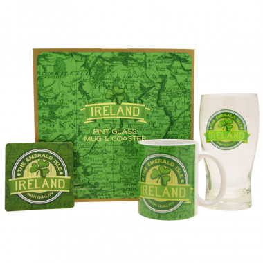 Set Pint Glass, Mug and Coaster Ireland