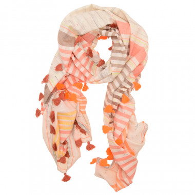 Out Of Oreland Scarf With Orange Pompoms