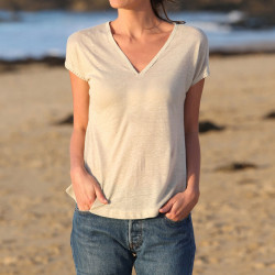 Out Of Ireland Beige Linen T-Shirt