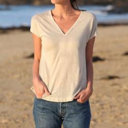 Out Of Ireland Beige Linen T-Shirt