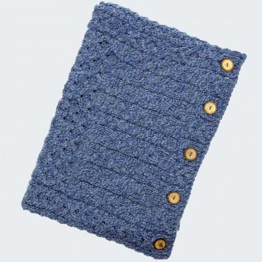 Snood à Boutons Bleu Chiné Aran Woollen Mills