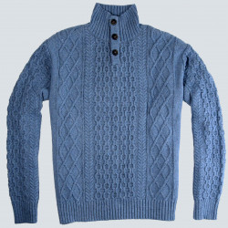 High Collar Cable Knit Blue Jumper in Recycled Cotton Out Of Ireland