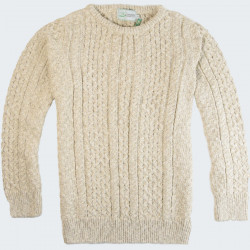The Original Aran Company Beige Cotton and Linen Irish Pullover