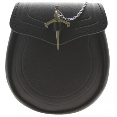 Black Leather Sporran Claymore Sword