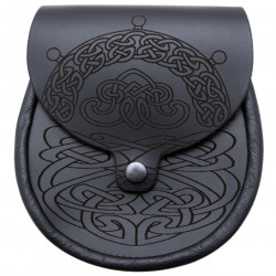 Black Leather Sporran with Celt Patterns