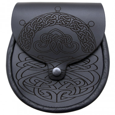 Leather Sporran with Celt Patterns