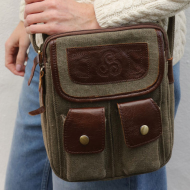 Aran Woollen Mills Leather and Tweed Bag with 2 Front Pockets