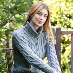 Aran Woolen Mills Bluish Grey Zipped Cardigan
