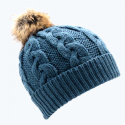 Inis Crafts Blue Green Pompom Beanie