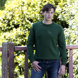 Pull homme col rond lambswool vert best yarn