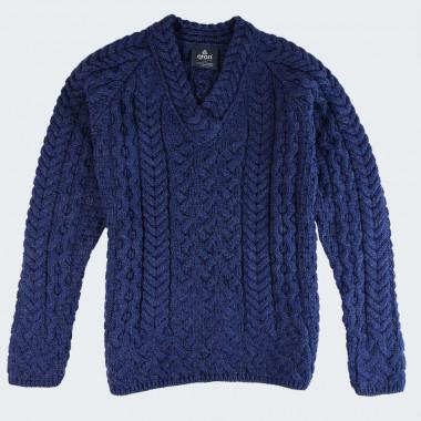 Pull femme col v merinos bleu aran woollen mills
