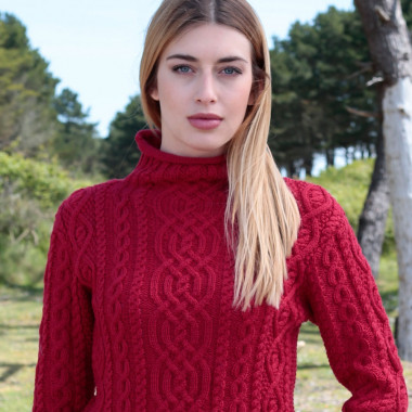 Pull Col Cheminée Merinos Rouge Inis Crafts