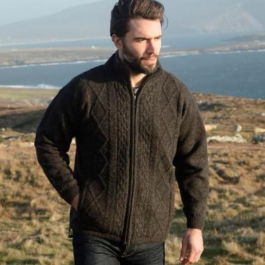 Aran Woollen Mills Zipped Anthracite Shetland Cardigan