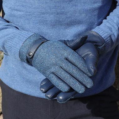 Aran Woollen Mills Men Blue Tweed Gloves