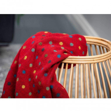 Plaid Lambswool Pois Rouge Foxford 140 x 180 cm