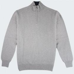 Best Yarn 1/2 Zip Collar Light Grey Sweater