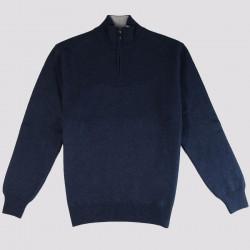 Pull Fin Col 1/2 Zip Bleu Nuit Best Yarn